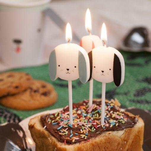 bougies avec tetes de chiens